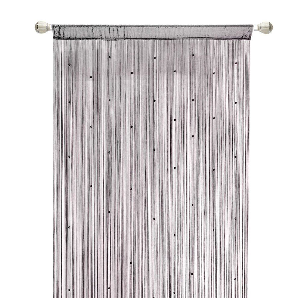 hsylym spaghetti beaded string door curtains with pearl beads dense beaded door fly screens for doors doorways and windows 90 245 grey