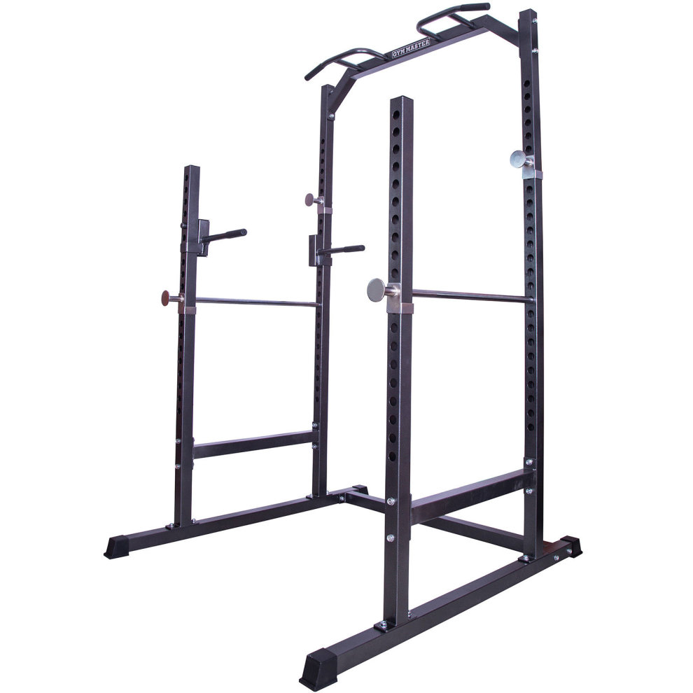 gym master heavy duty half power cage squat rack bench press pull up dip station