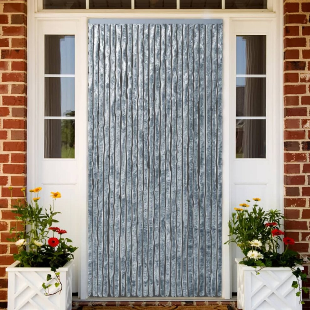 vidaxl insect curtain white and grey 100x220cm chenille fly door screen mesh