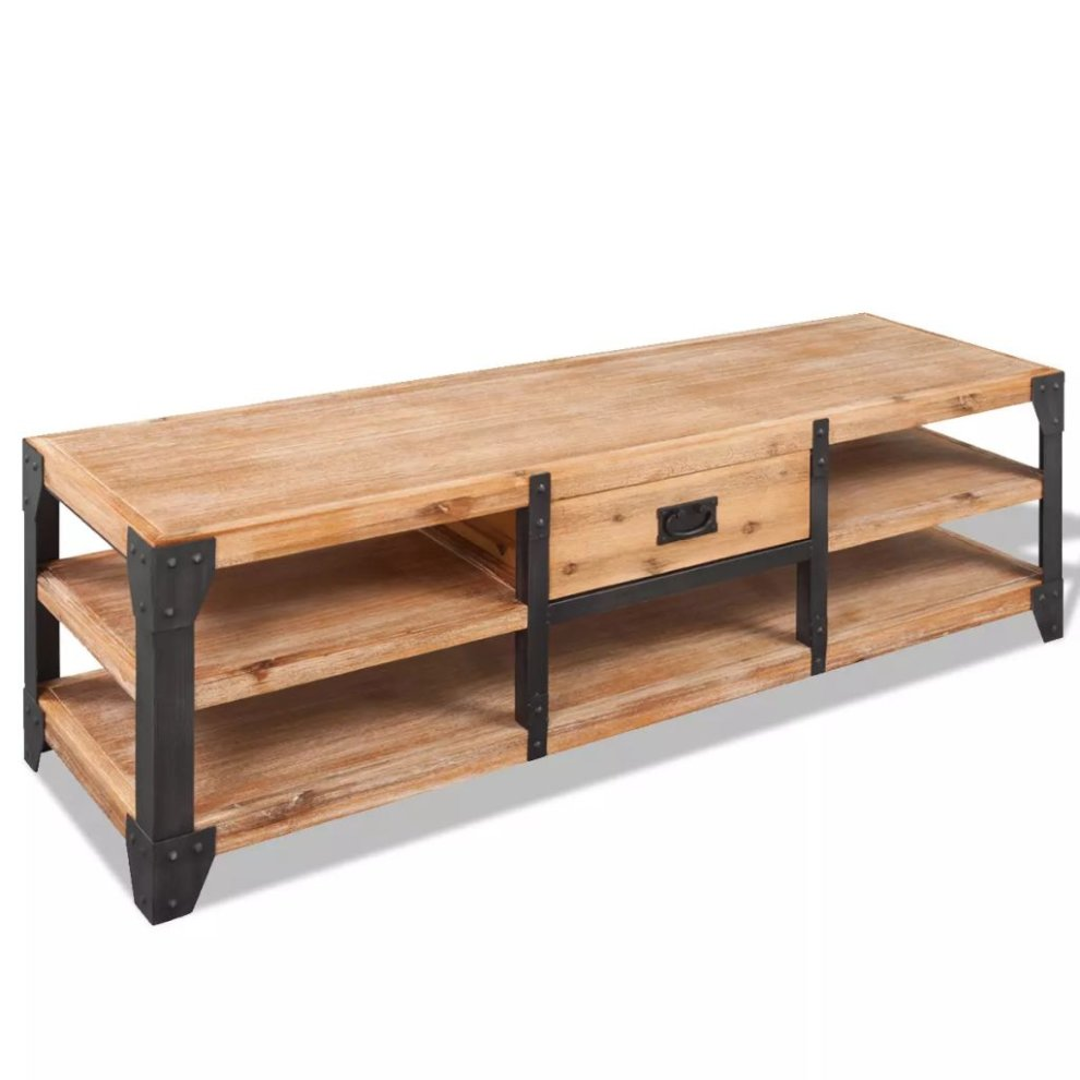 Vidaxl Tv Stand Storage Cabinet Display Unit Home With Drawer Solid Acacia Wood On Onbuy