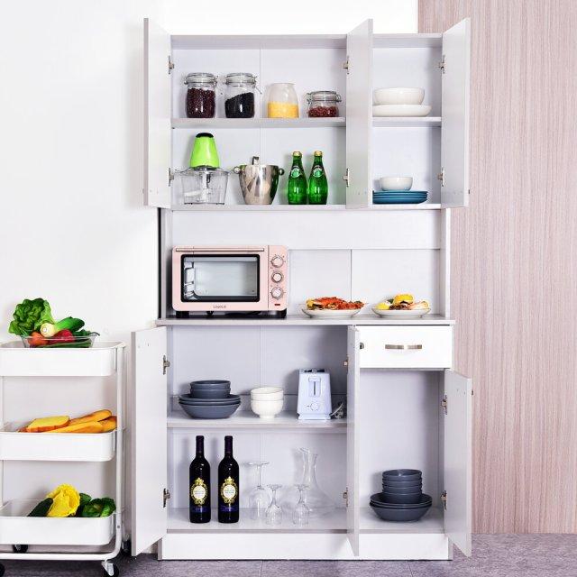 Homcom Modern Freestanding Pantry Cupboard Kitchen Hutch W Versatile Storage On Onbuy