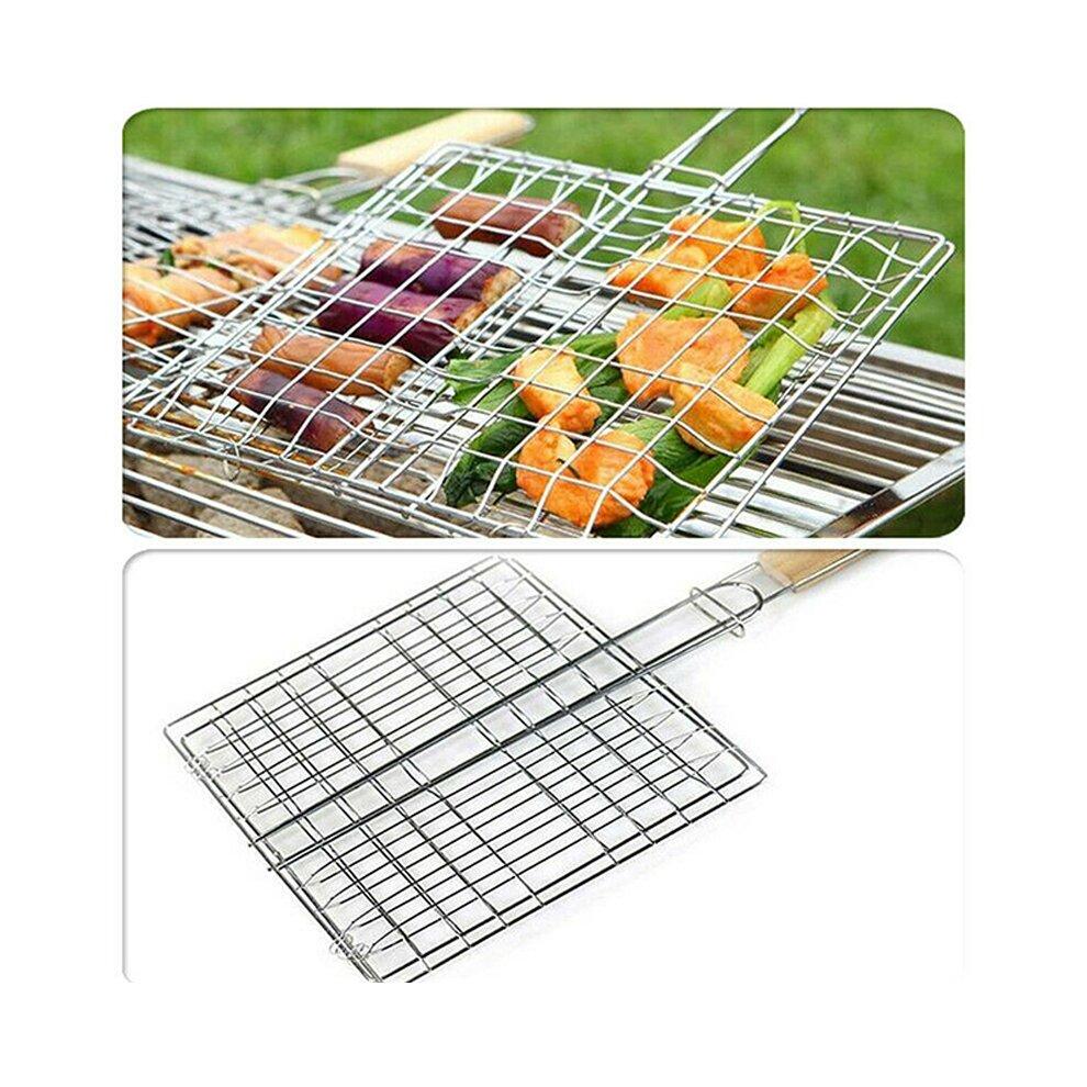 bbq grill basket long handle rack meat burger fish holder net folding mesh tool