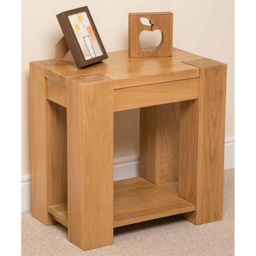 kuba chunky solid oak lamp side table