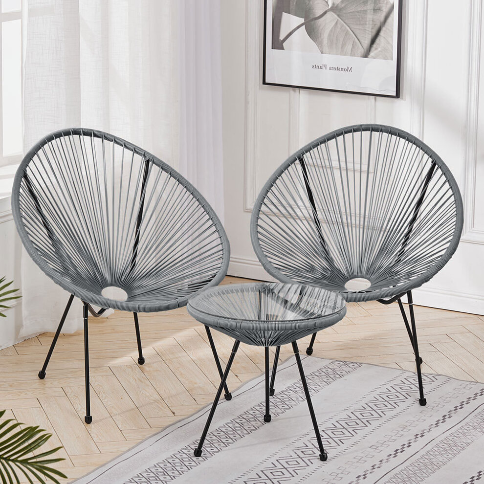 rattan garden bistro table and chair patio furniture set