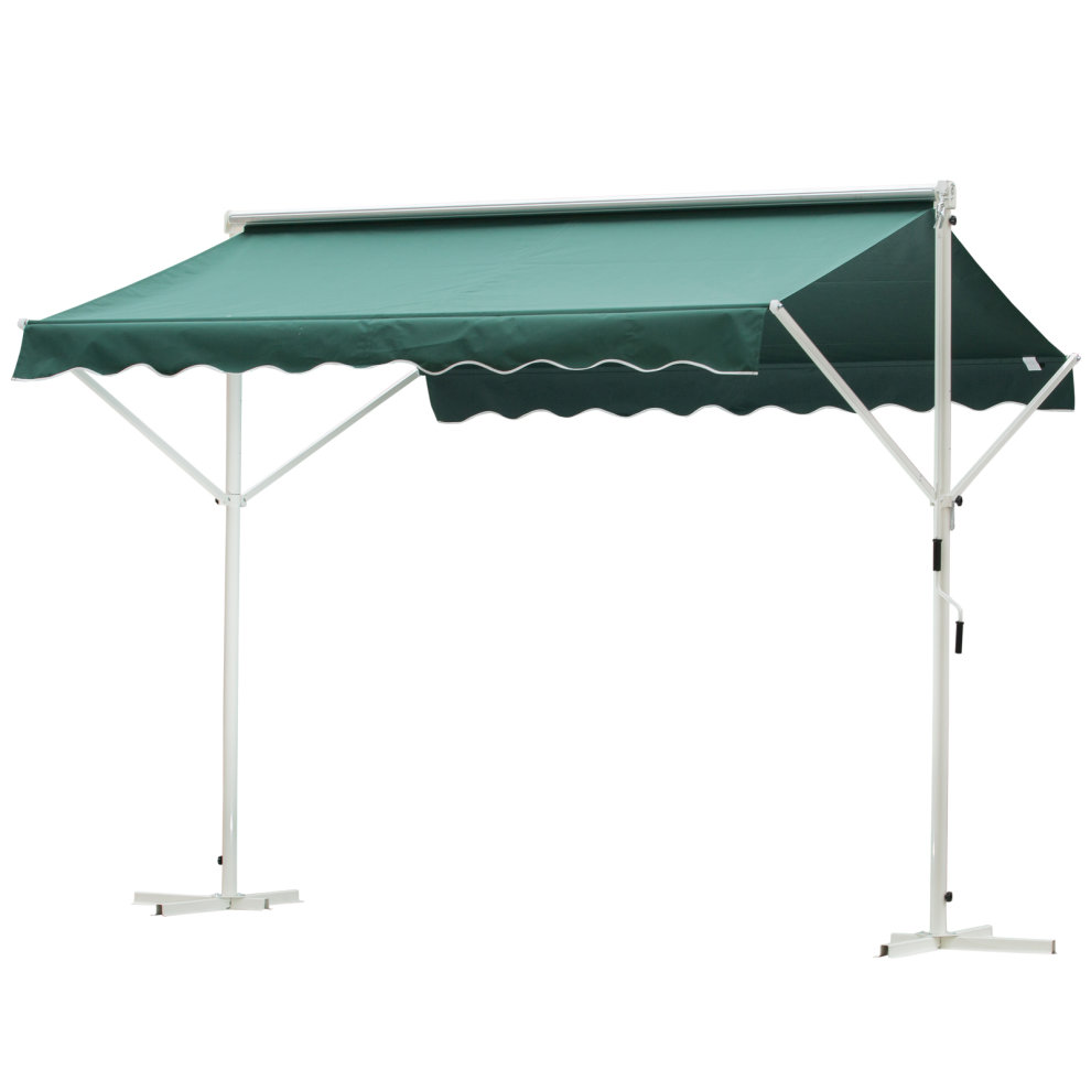 outsunny 3 x 3m freestanding garden 2 side awning outdoor patio sun shade canopy