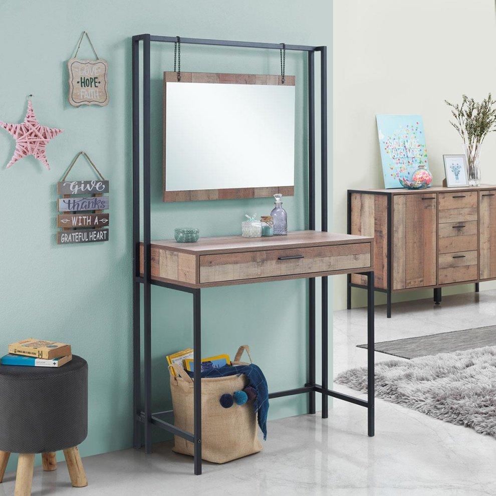 Stretton Bedroom Dressing Vanity Makeup Table Mirror Drawer Rustic Oak Effect On Onbuy