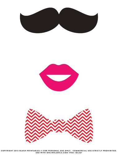 Printable Lips Template : printable, template, Mustache,, Photo, Booth, Cardstock, Printable