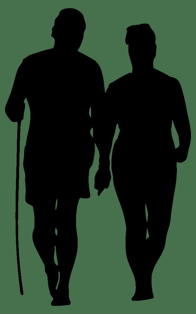 Download OnlineLabels Clip Art - Couple Walking On Beach Silhouette