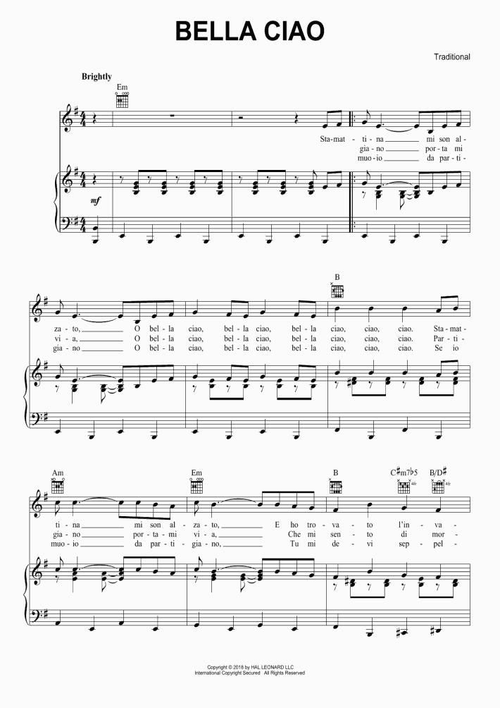Bella Ciao Piano Notes : bella, piano, notes, Bella, Piano, Sheet, Music, OnlinePianist