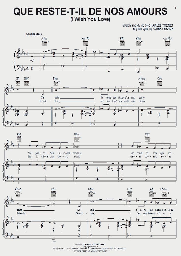Que Reste T Il De Nos Amours : reste, amours, Reste-T-Il, Amours, Piano, Sheet, Music