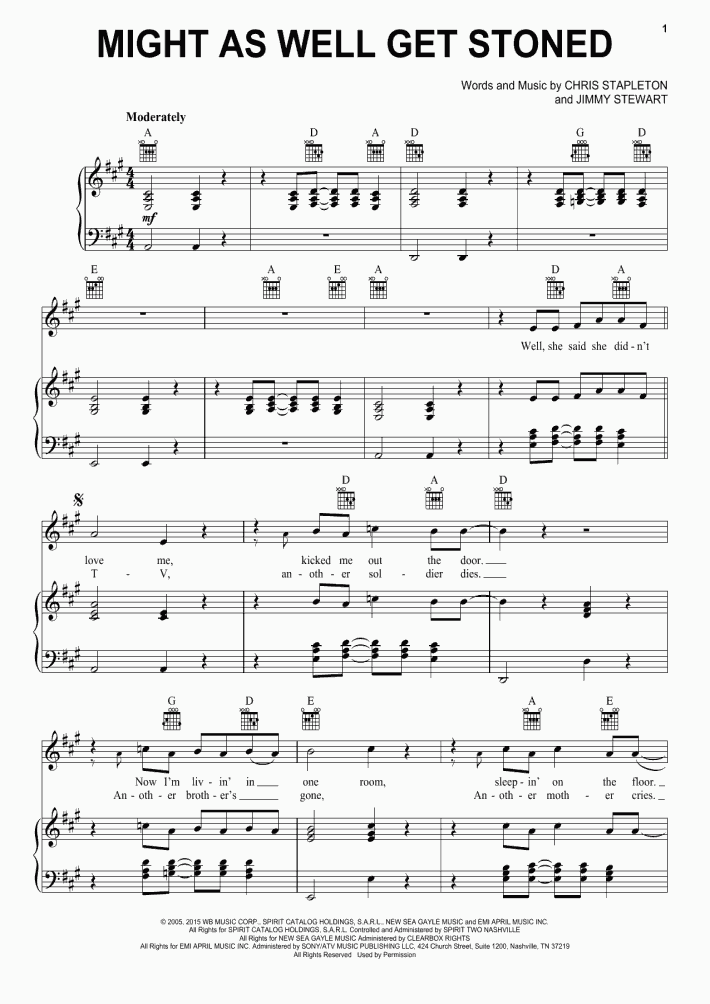 Might As Well Get Stoned Piano Sheet Music