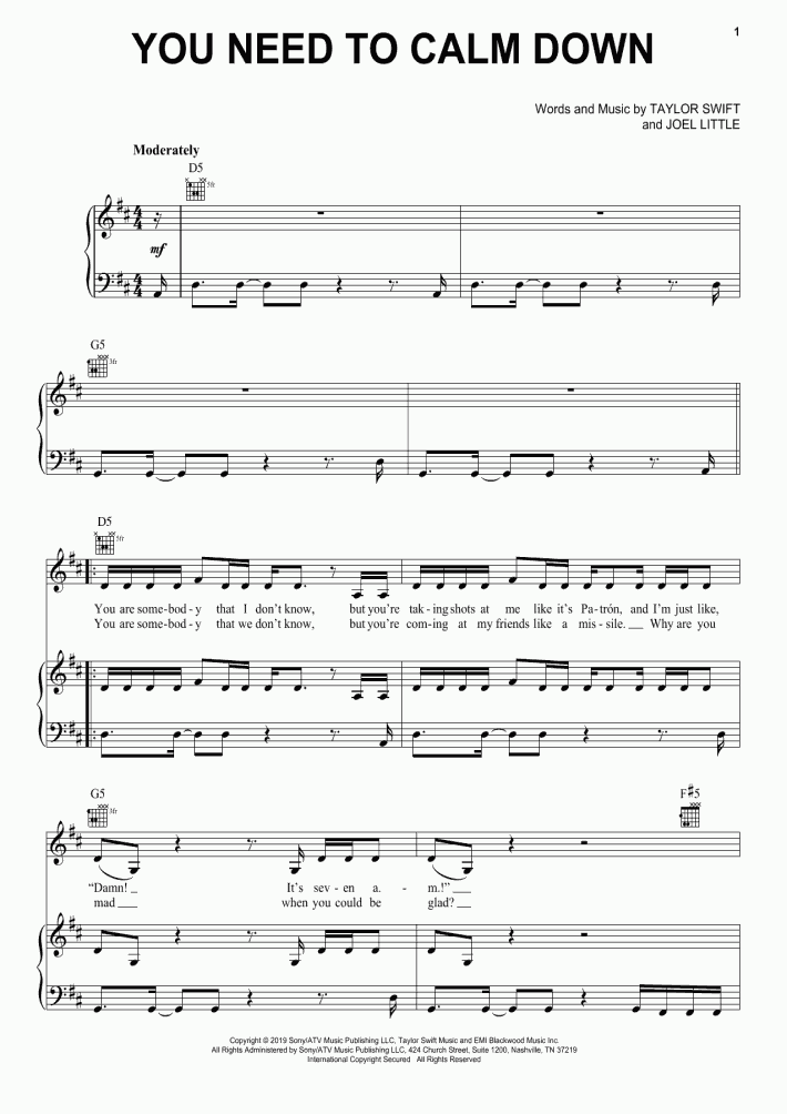 You Need To Calm Down Piano Sheet Music   OnlinePianist