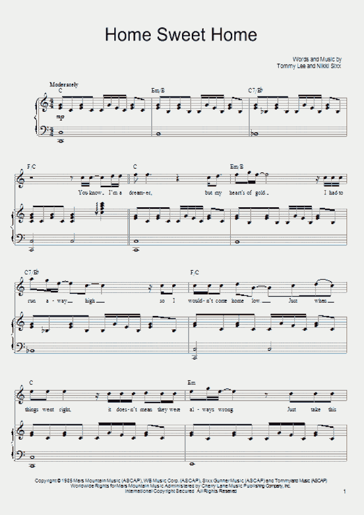 Learn to read and form piano chords and inversions, with illustrated keyboard fingering, staff notation,. Home Sweet Home Piano Sheet Music Onlinepianist