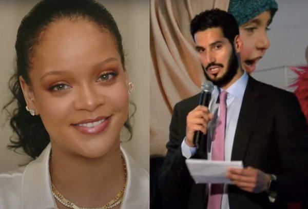 Rihanna em vídeo para a Fenty Skin e Hassan Jameel em evento da Action for Refugee Education (Reprodução)