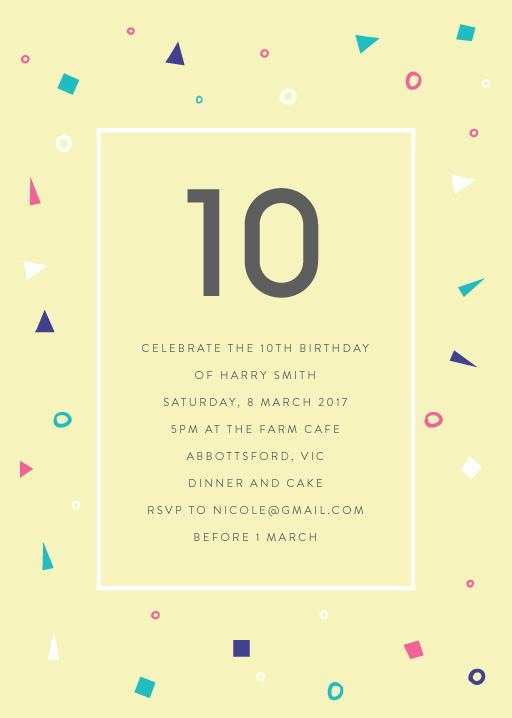 10th birthday invitations designs by
