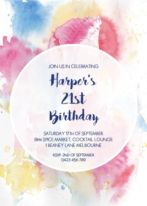 watercolour birthday invitations