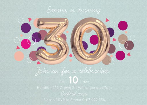 30th birthday invitations customise