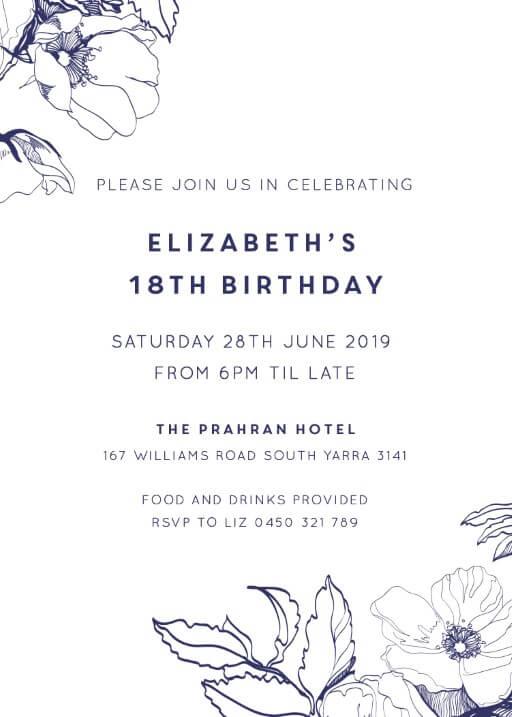 18th birthday invitations customize