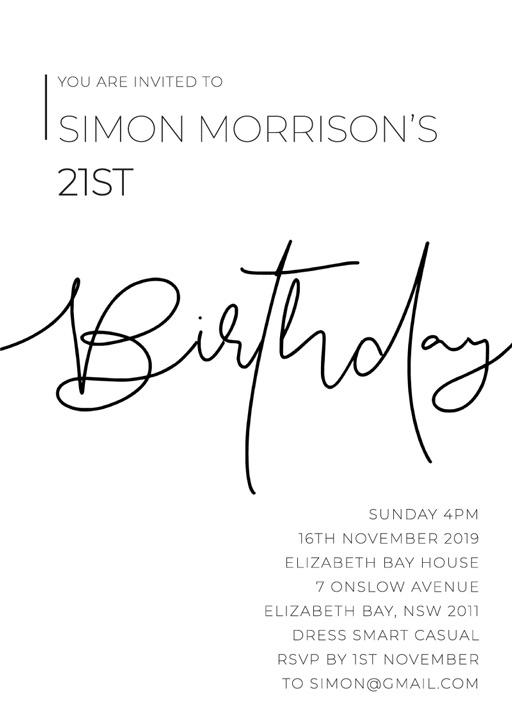 21st birthday invitations customize
