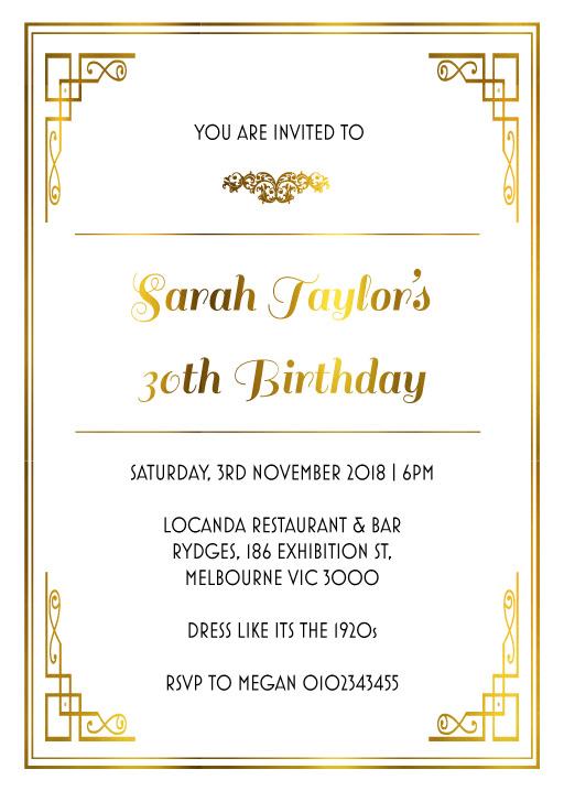 40th birthday invitations customise