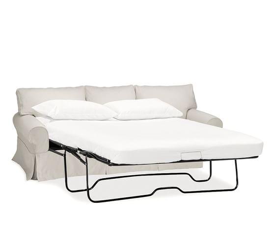 pb basic slipcovered sleeper sofa with memory foam mattress