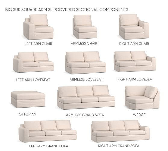 build your own big sur square arm sectional component slipcovers