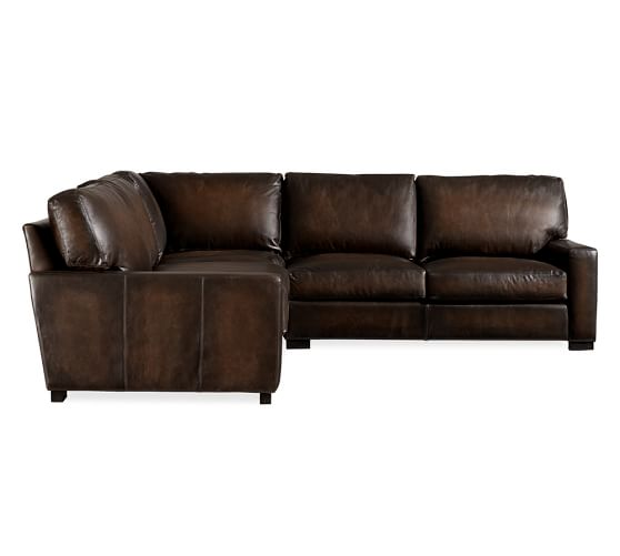 turner square arm leather 3 piece l sectional