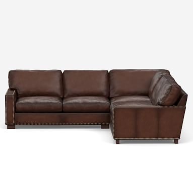 turner square arm leather 3 piece l sectional nailheads