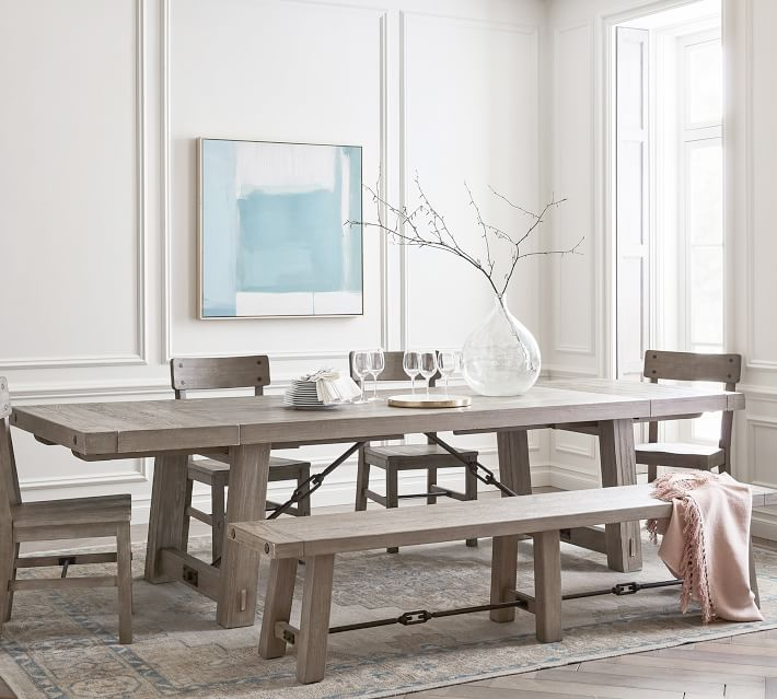 perfect pair benchwright extending dining table with benchwright bench chair