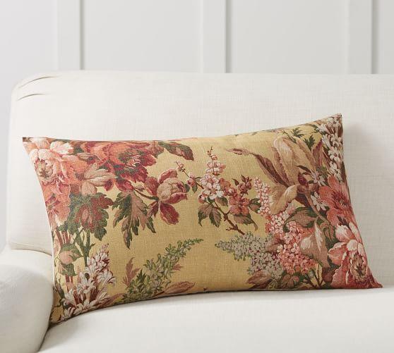 elaine floral print lumbar pillow cover