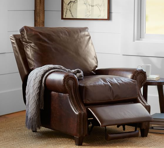 james roll arm leather recliner with nailheads