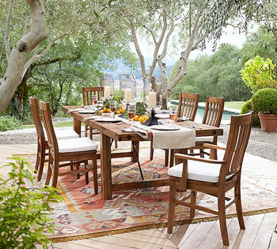 perfect pair benchwright outdoor extending dining table chair