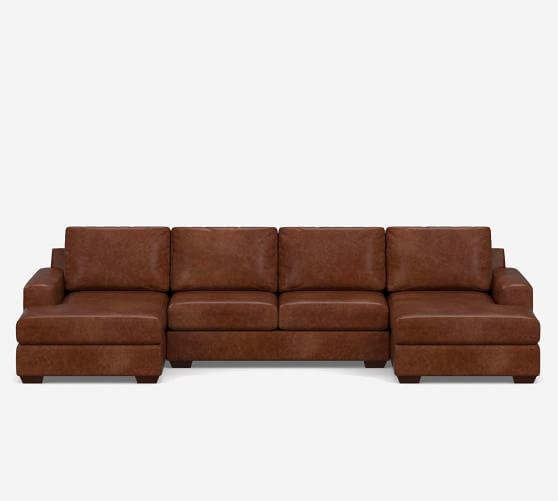 big sur square arm leather u shaped chaise sectional