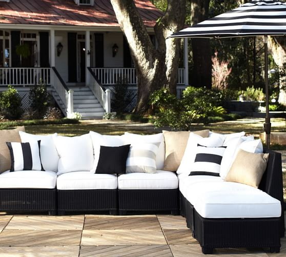 build your own palmetto all weather wicker sectional components black