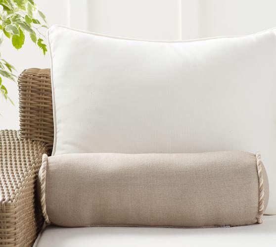 sunbrella flax bolster pillow