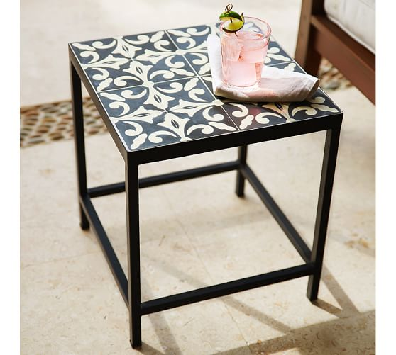 square tile outdoor side table