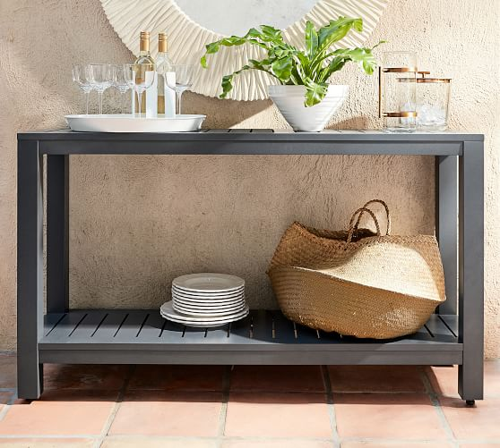 indio metal console table slate