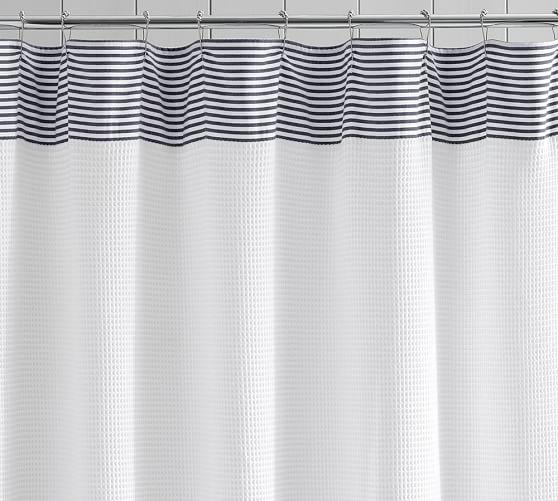 striped dobby waffle weave shower