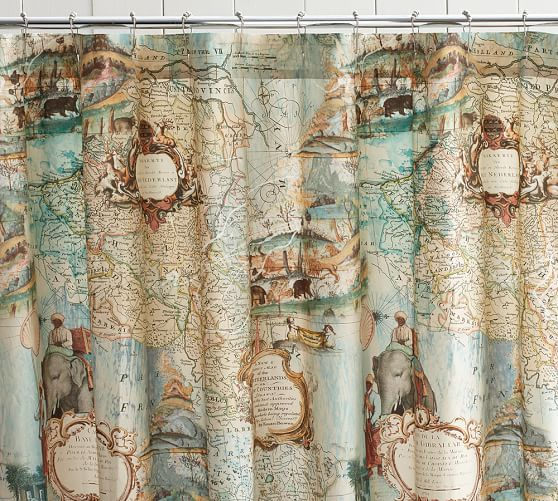map cotton shower curtain pottery barn