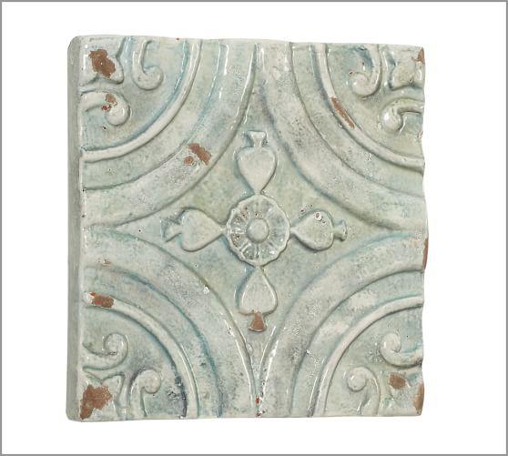 blue ceramic tile wall art pottery barn
