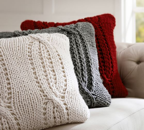 chunky cable handknit pillow cover
