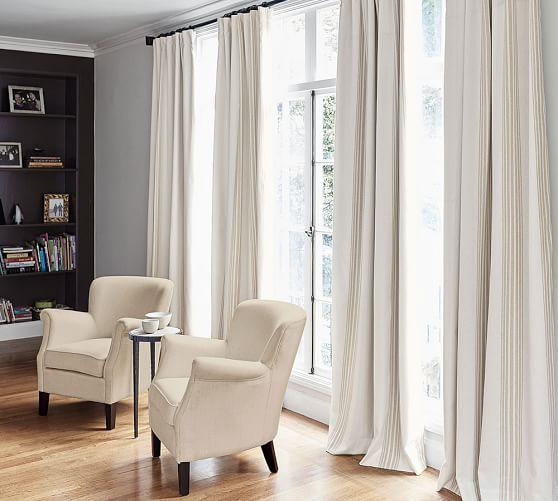 riviera striped linen cotton rod pocket blackout curtain