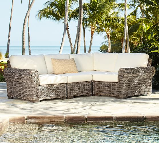 build your own huntington all weather wicker roll arm sectional components