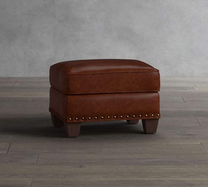 irving leather storage ottoman with nailheads