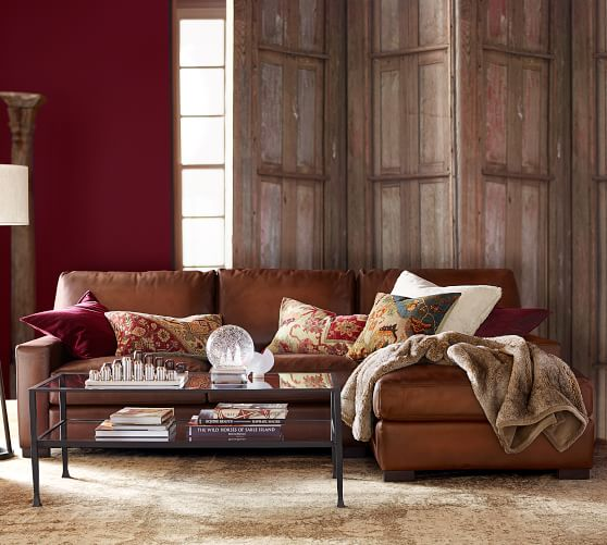 turner square arm leather sofa chaise sectional