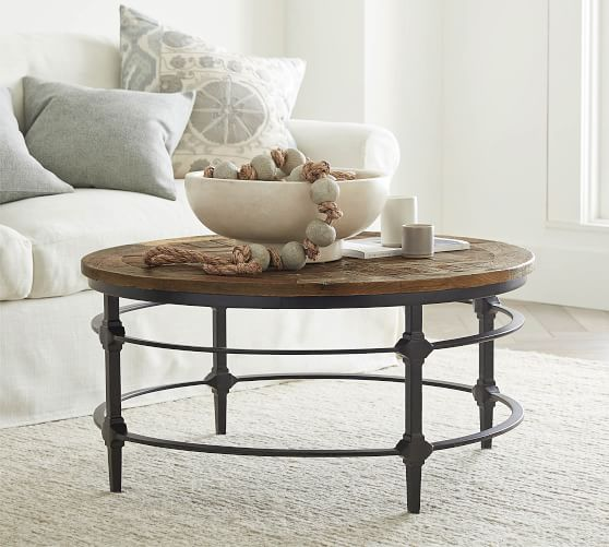 parquet 36 round reclaimed wood coffee table