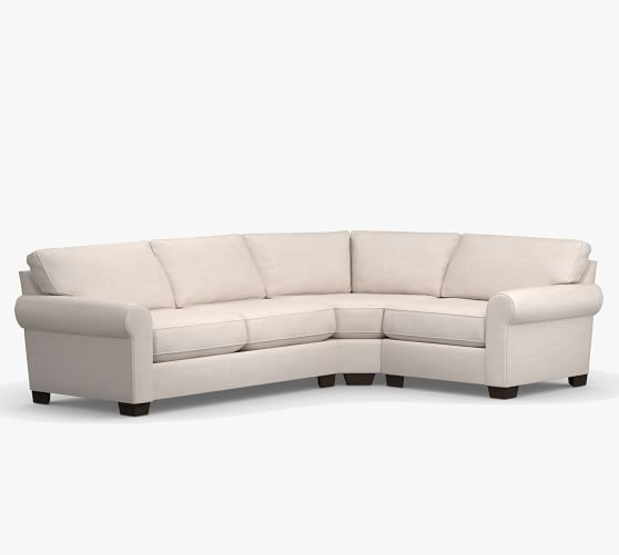 buchanan roll arm upholstered 3 piece sleeper sectional with wedge