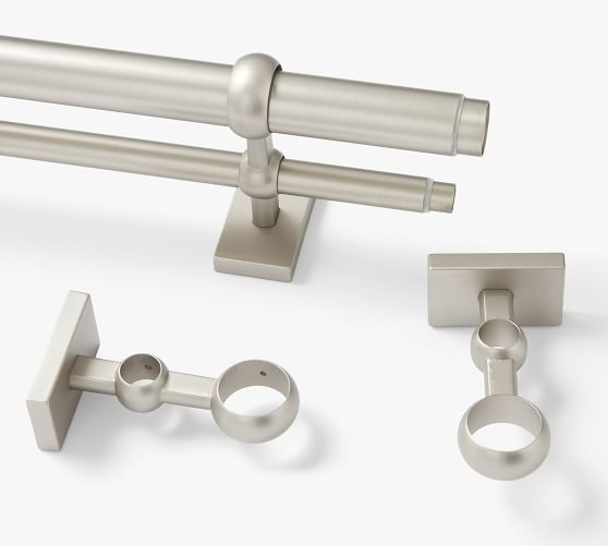 pewter double curtain rod wall bracket