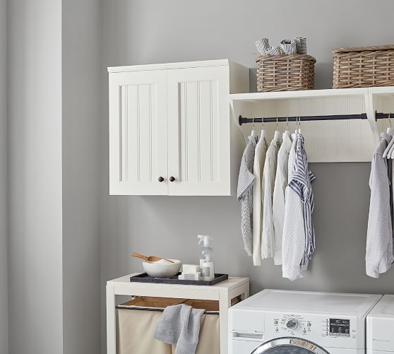 aubrey deluxe laundry organization set with closed cabinets
