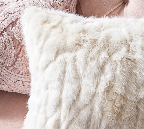 faux fur ruched pillow covers